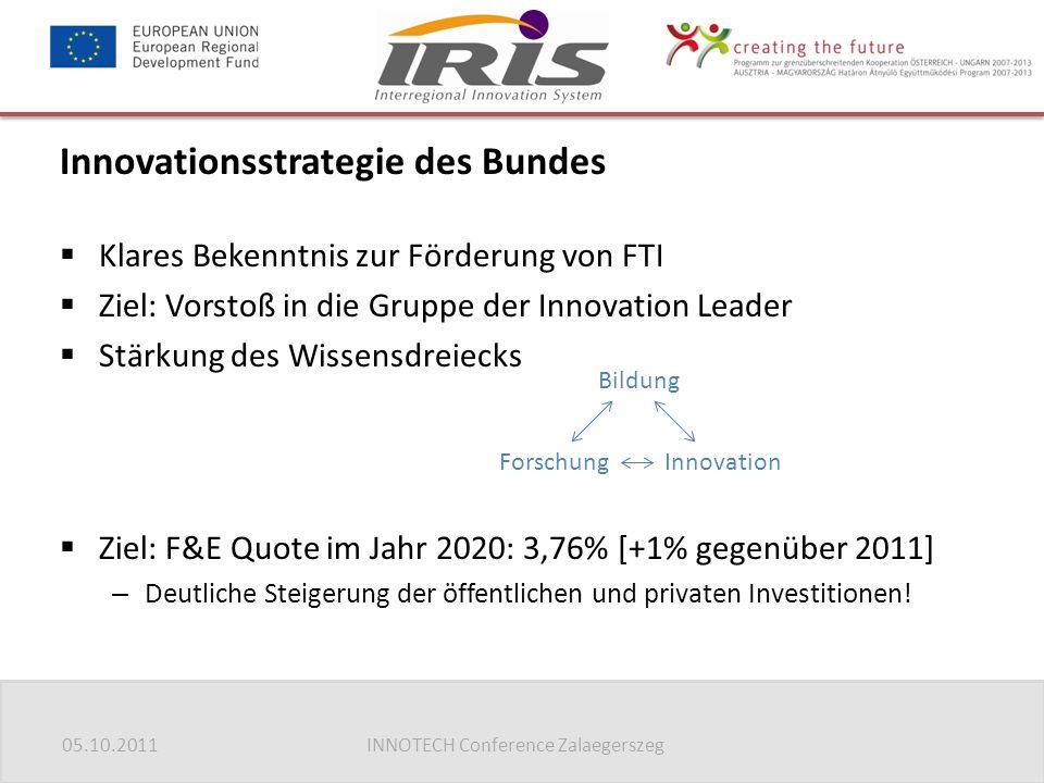 05.10.2011INNOTECH Conference Zalaegerszeg Innovationsstrategie des Bundes  Klares Bekenntnis zur Förderung von FTI  Ziel: Vorstoß in die Gruppe der