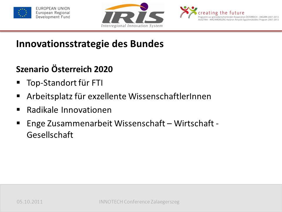05.10.2011INNOTECH Conference Zalaegerszeg Innovationsstrategie des Bundes Szenario Österreich 2020  Top-Standort für FTI  Arbeitsplatz für exzellen