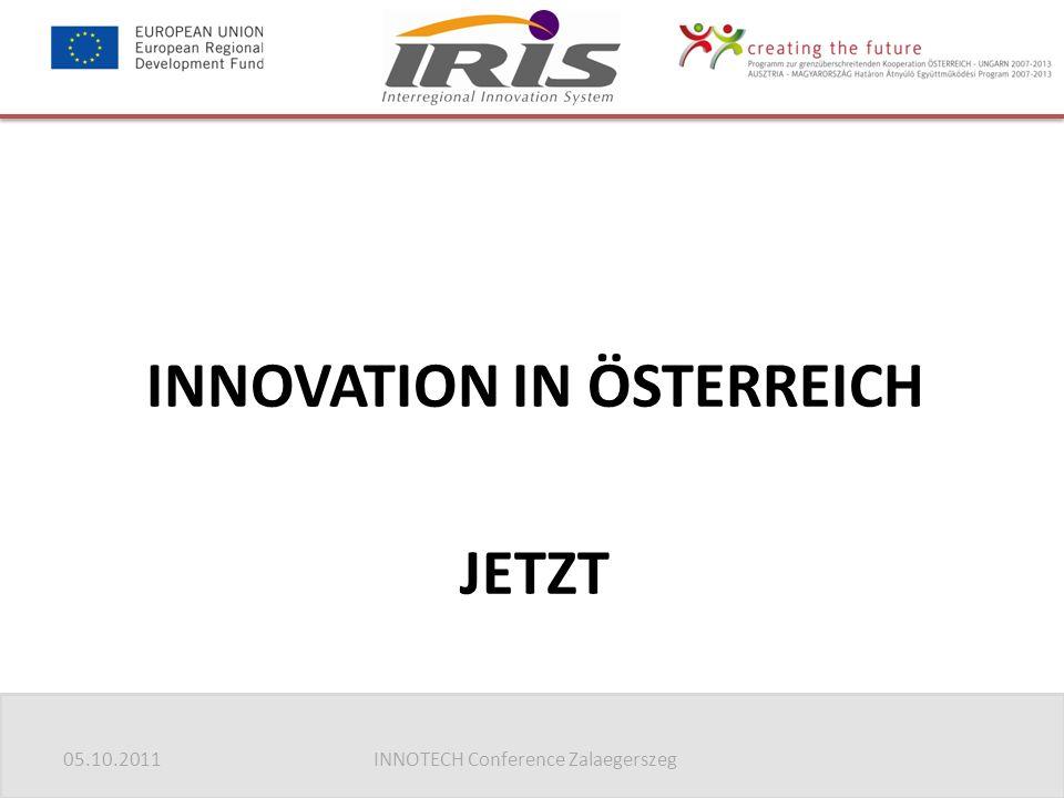 05.10.2011INNOTECH Conference Zalaegerszeg INNOVATION IN ÖSTERREICH JETZT