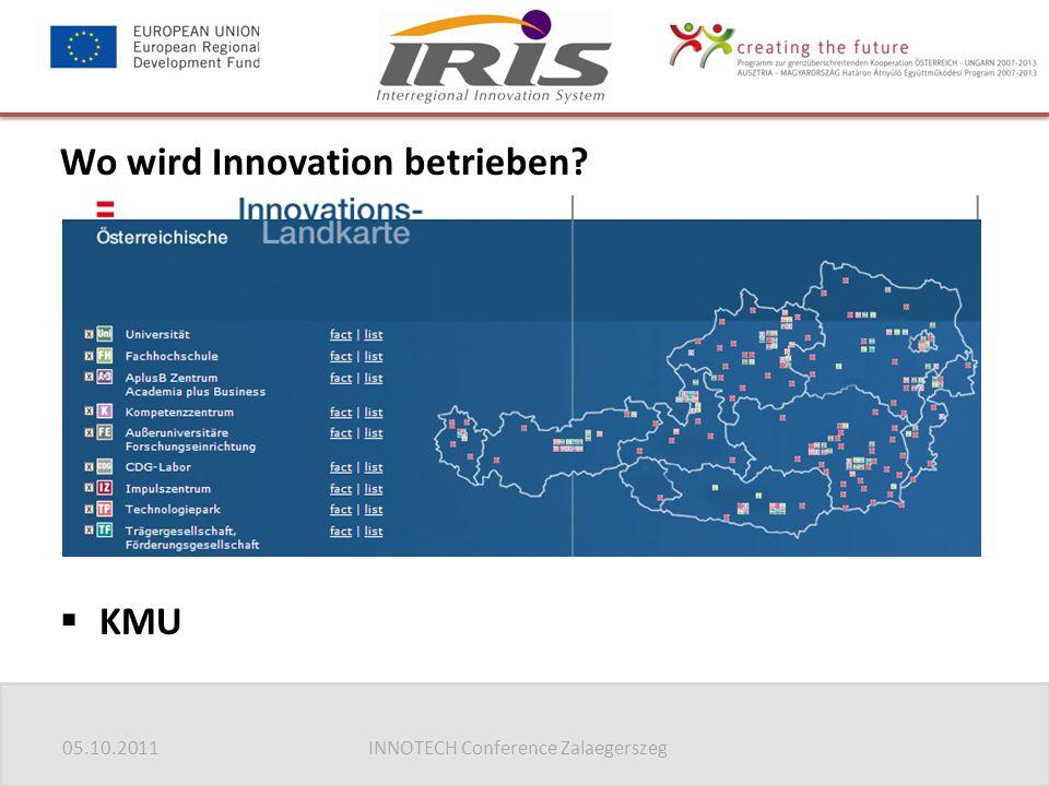 05.10.2011INNOTECH Conference Zalaegerszeg Wo wird Innovation betrieben?  Universitäten  Fachhochschulen  Forschungseinrichtungen  Kompetenzzentre