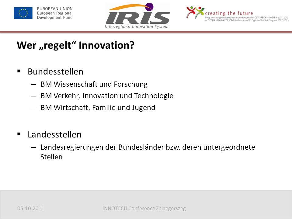 """05.10.2011INNOTECH Conference Zalaegerszeg Wer """"regelt"""" Innovation?  Bundesstellen – BM Wissenschaft und Forschung – BM Verkehr, Innovation und Techn"""