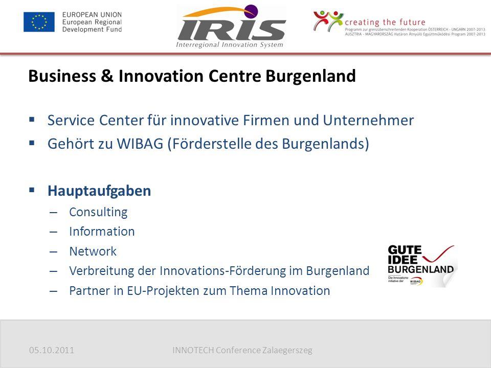 05.10.2011INNOTECH Conference Zalaegerszeg Business & Innovation Centre Burgenland  Service Center für innovative Firmen und Unternehmer  Gehört zu