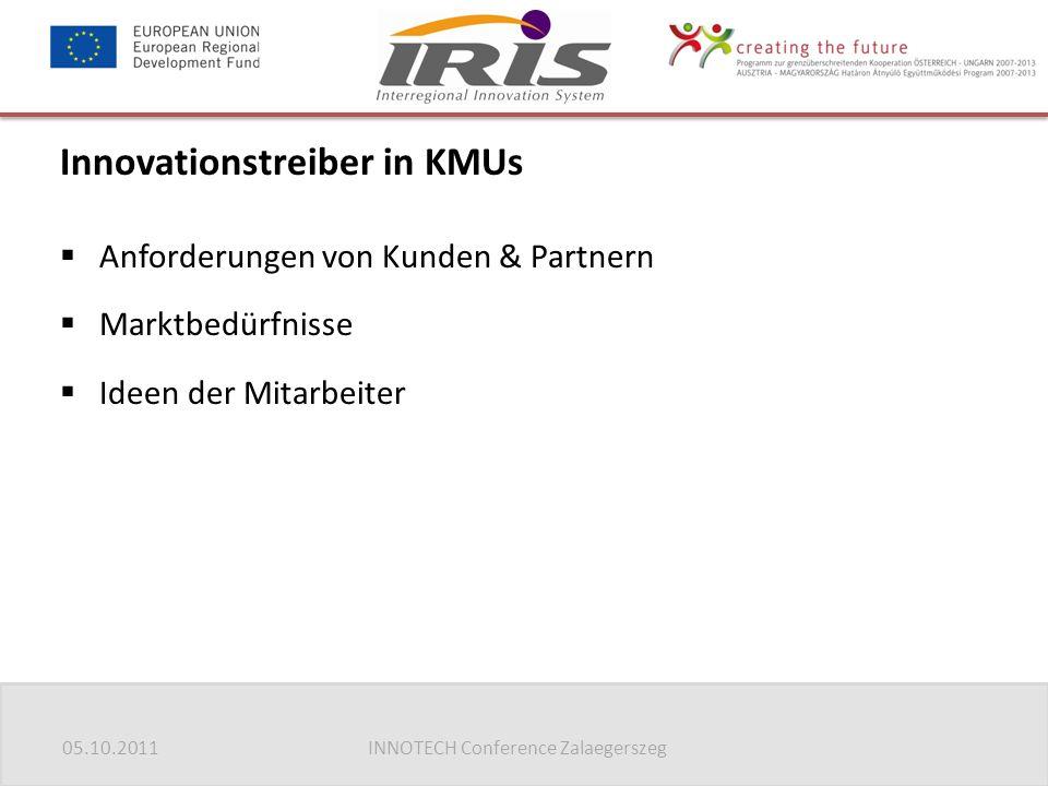 05.10.2011INNOTECH Conference Zalaegerszeg Innovationstreiber in KMUs  Anforderungen von Kunden & Partnern  Marktbedürfnisse  Ideen der Mitarbeiter