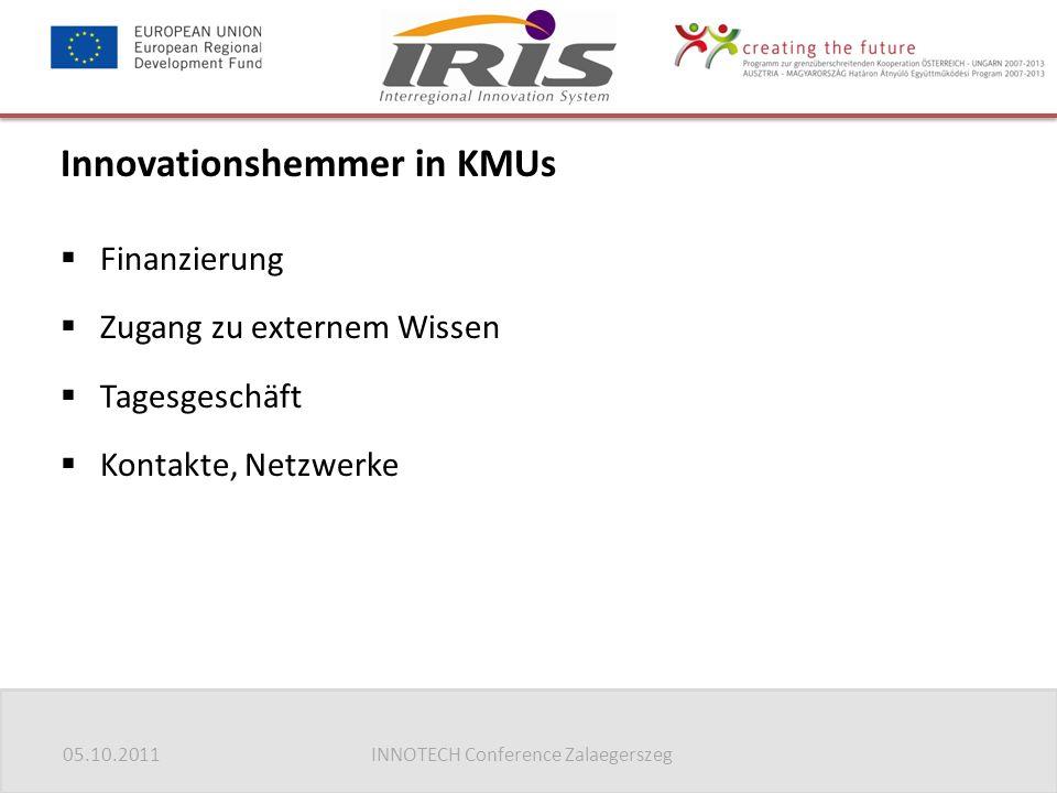 05.10.2011INNOTECH Conference Zalaegerszeg Innovationshemmer in KMUs  Finanzierung  Zugang zu externem Wissen  Tagesgeschäft  Kontakte, Netzwerke