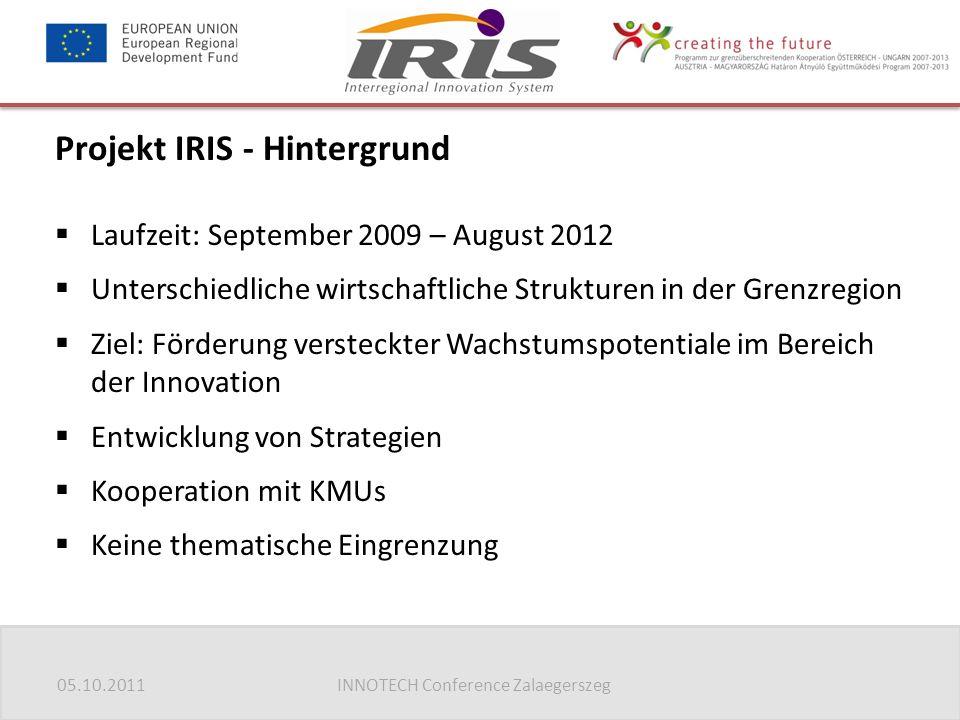 05.10.2011INNOTECH Conference Zalaegerszeg Projekt IRIS - Hintergrund  Laufzeit: September 2009 – August 2012  Unterschiedliche wirtschaftliche Stru