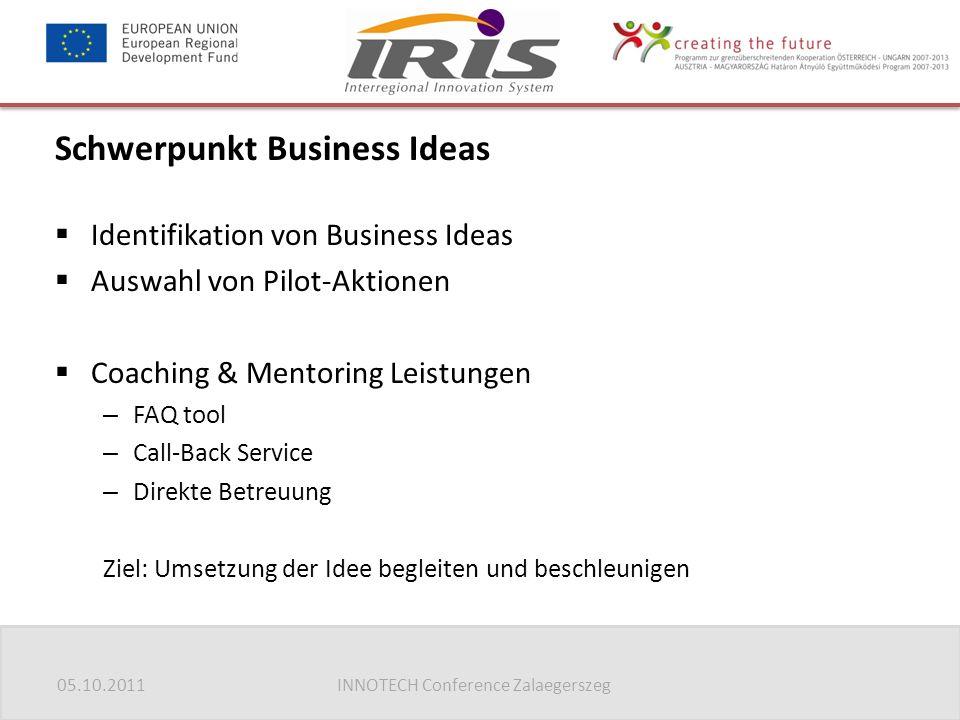05.10.2011INNOTECH Conference Zalaegerszeg Schwerpunkt Business Ideas  Identifikation von Business Ideas  Auswahl von Pilot-Aktionen  Coaching & Me