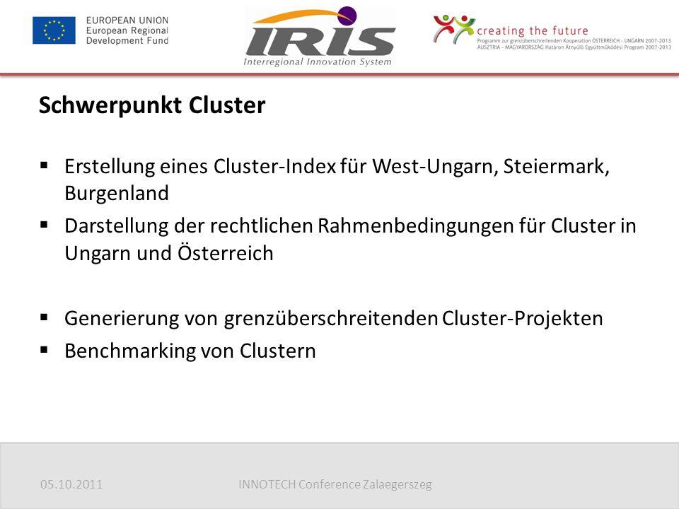 05.10.2011INNOTECH Conference Zalaegerszeg Schwerpunkt Cluster  Erstellung eines Cluster-Index für West-Ungarn, Steiermark, Burgenland  Darstellung