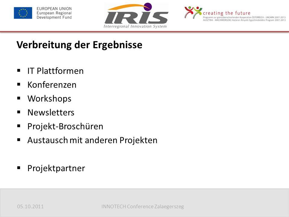 05.10.2011INNOTECH Conference Zalaegerszeg Verbreitung der Ergebnisse  IT Plattformen  Konferenzen  Workshops  Newsletters  Projekt-Broschüren  Austausch mit anderen Projekten  Projektpartner
