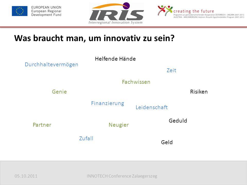 05.10.2011INNOTECH Conference Zalaegerszeg Was braucht man, um innovativ zu sein.