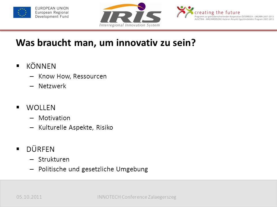 05.10.2011INNOTECH Conference Zalaegerszeg Was braucht man, um innovativ zu sein?  KÖNNEN – Know How, Ressourcen – Netzwerk  WOLLEN – Motivation – K
