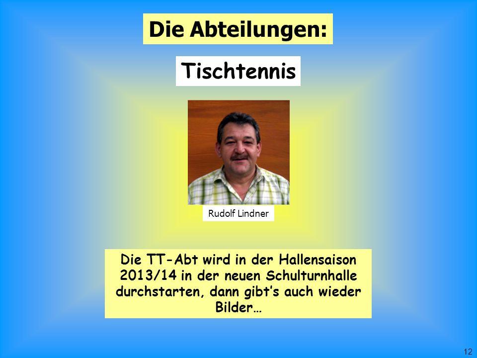 12 Die Abteilungen: Tischtennis Rudolf Lindner Die TT-Abt wird in der Hallensaison 2013/14 in der neuen Schulturnhalle durchstarten, dann gibt's auch wieder Bilder…