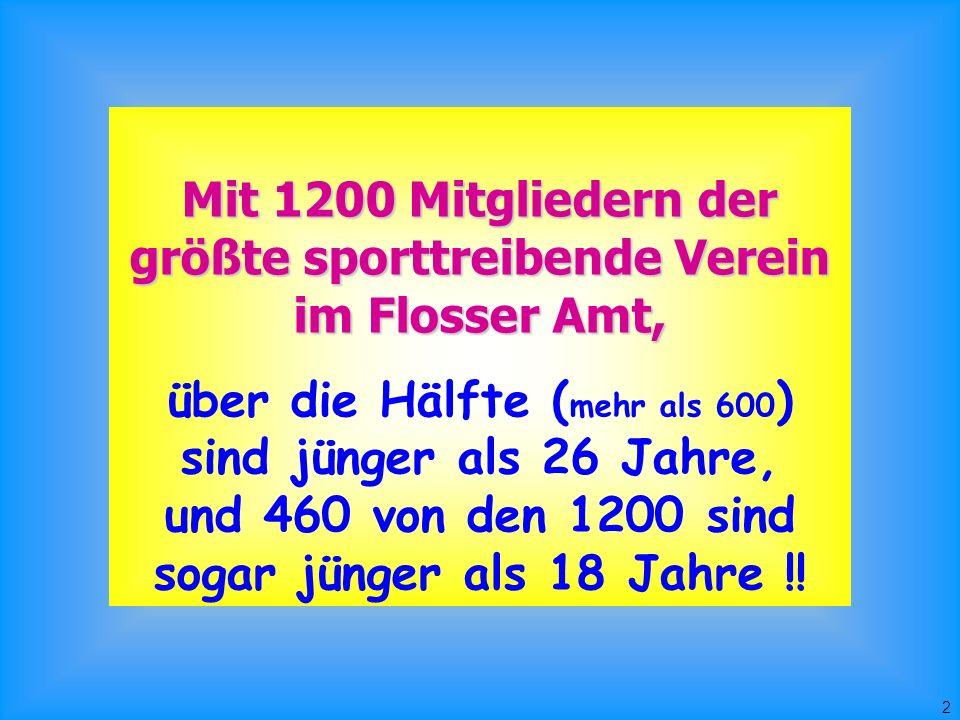 2 Mit 1200 Mitgliedern der größte sporttreibende Verein im Flosser Amt, über die Hälfte ( mehr als 600 ) sind jünger als 26 Jahre, und 460 von den 1200 sind sogar jünger als 18 Jahre !!