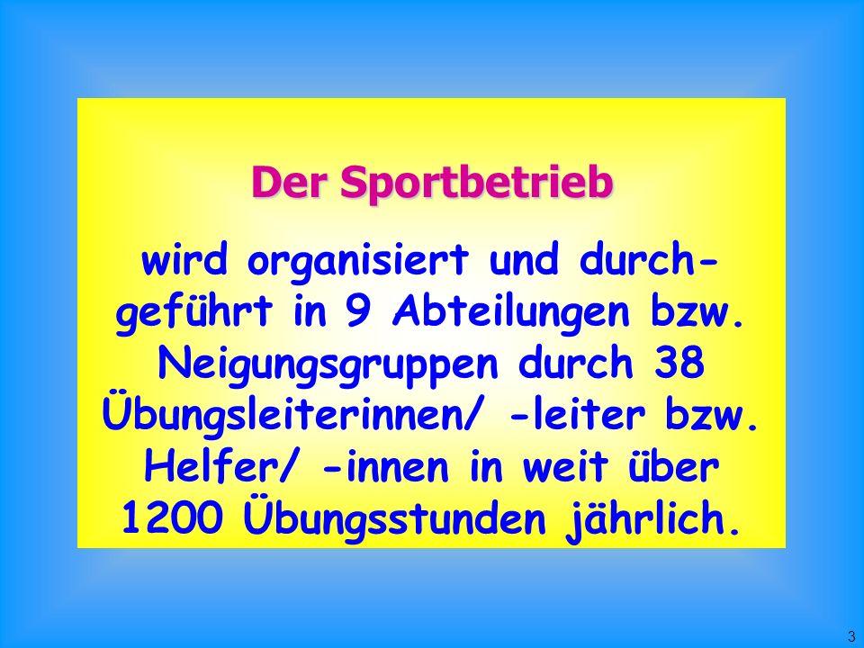 3 Der Sportbetrieb wird organisiert und durch- geführt in 9 Abteilungen bzw.