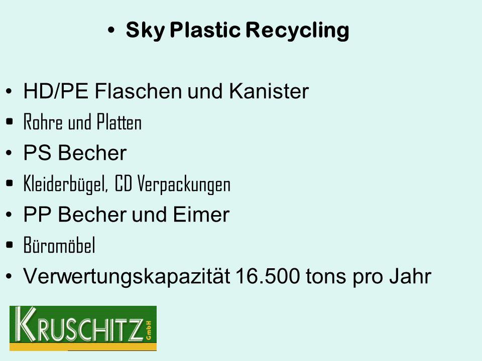 Sky Plastic Recycling HD/PE Flaschen und Kanister Rohre und Platten PS Becher Kleiderbügel, CD Verpackungen PP Becher und Eimer Büromöbel Verwertungskapazität 16.500 tons pro Jahr