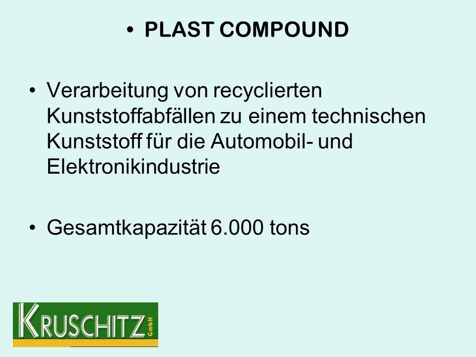 PLAST COMPOUND Verarbeitung von recyclierten Kunststoffabfällen zu einem technischen Kunststoff für die Automobil- und Elektronikindustrie Gesamtkapazität 6.000 tons