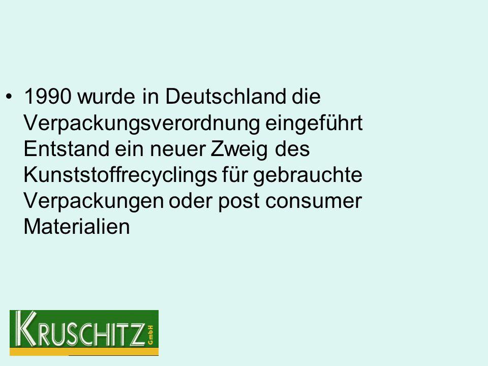 1990 wurde in Deutschland die Verpackungsverordnung eingeführt Entstand ein neuer Zweig des Kunststoffrecyclings für gebrauchte Verpackungen oder post consumer Materialien