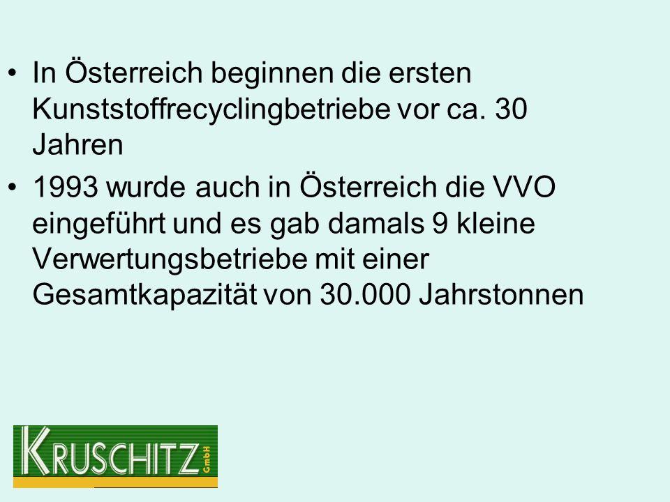 In Österreich beginnen die ersten Kunststoffrecyclingbetriebe vor ca.