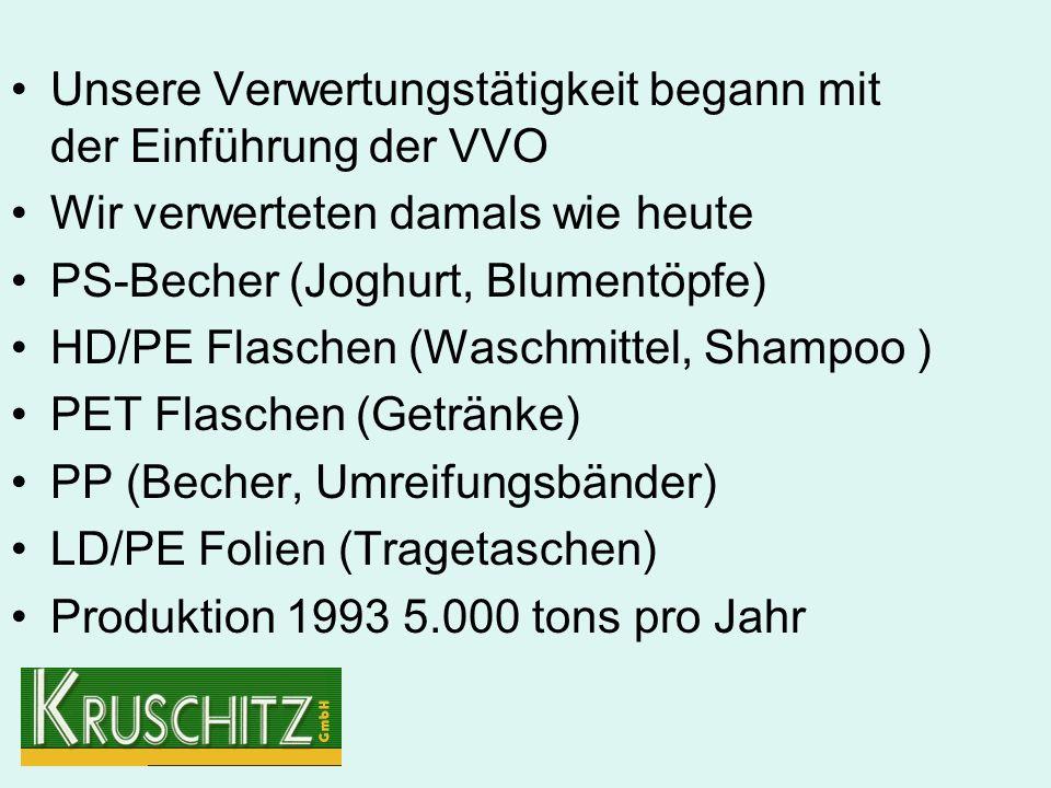 Unsere Verwertungstätigkeit begann mit der Einführung der VVO Wir verwerteten damals wie heute PS-Becher (Joghurt, Blumentöpfe) HD/PE Flaschen (Waschmittel, Shampoo ) PET Flaschen (Getränke) PP (Becher, Umreifungsbänder) LD/PE Folien (Tragetaschen) Produktion 1993 5.000 tons pro Jahr