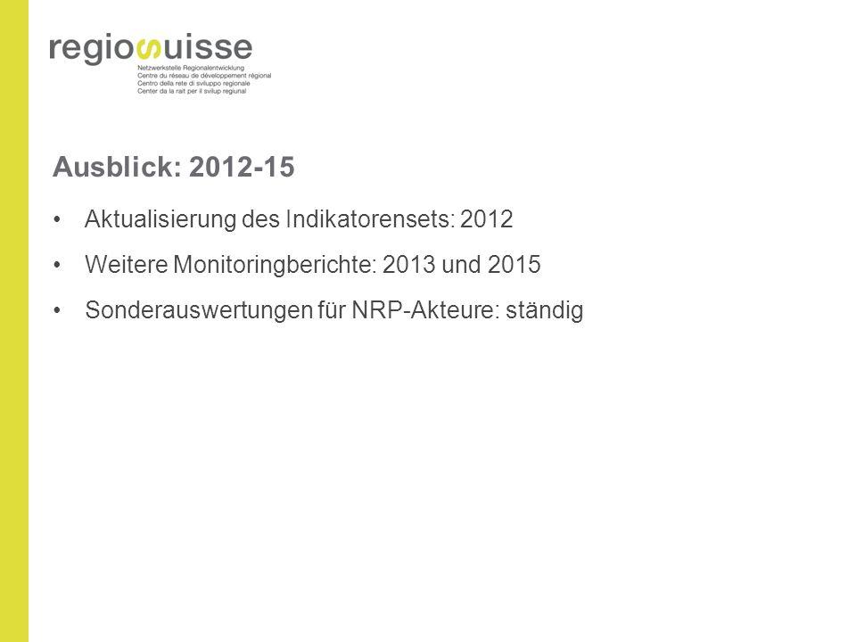 Ausblick: 2012-15 Aktualisierung des Indikatorensets: 2012 Weitere Monitoringberichte: 2013 und 2015 Sonderauswertungen für NRP-Akteure: ständig