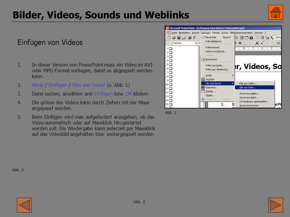 Bilder, Videos, Sounds und Weblinks Einfügen von Videos 1.In dieser Version von PowerPoint muss ein Video im AVI- oder MPG-Format vorliegen, damit es abgespielt werden kann.