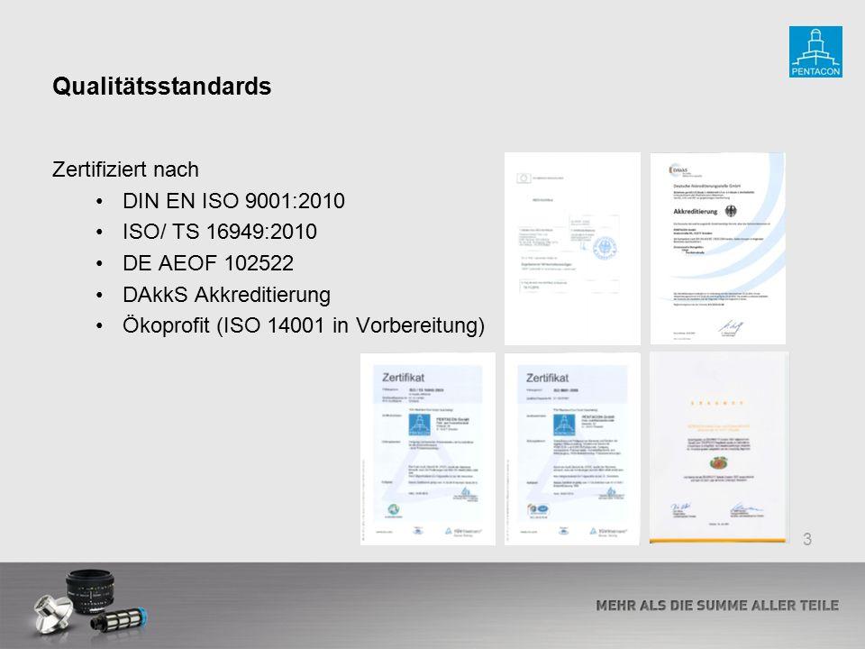 Qualitätsstandards Zertifiziert nach DIN EN ISO 9001:2010 ISO/ TS 16949:2010 DE AEOF 102522 DAkkS Akkreditierung Ökoprofit (ISO 14001 in Vorbereitung)