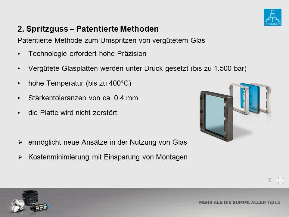 2. Spritzguss – Patentierte Methoden Patentierte Methode zum Umspritzen von vergütetem Glas Technologie erfordert hohe Präzision Vergütete Glasplatten
