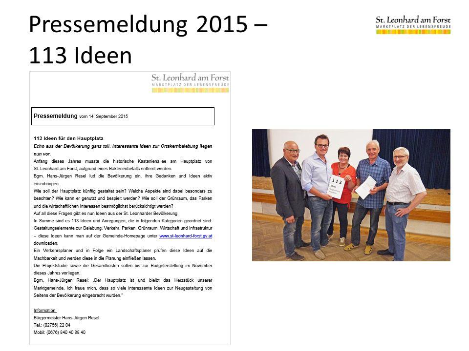 Pressemeldung 2015 – 113 Ideen