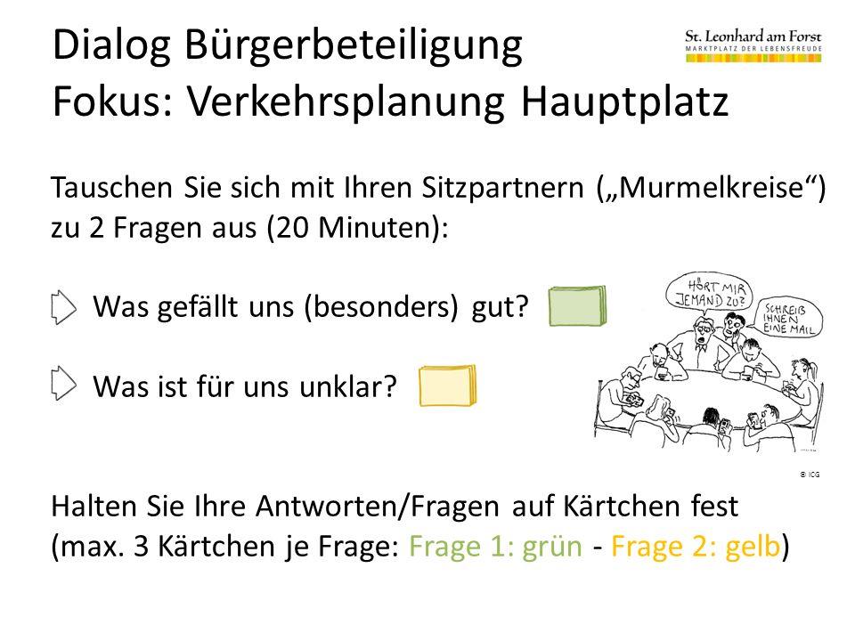 """Dialog Bürgerbeteiligung Fokus: Verkehrsplanung Hauptplatz Tauschen Sie sich mit Ihren Sitzpartnern (""""Murmelkreise ) zu 2 Fragen aus (20 Minuten): Was gefällt uns (besonders) gut."""