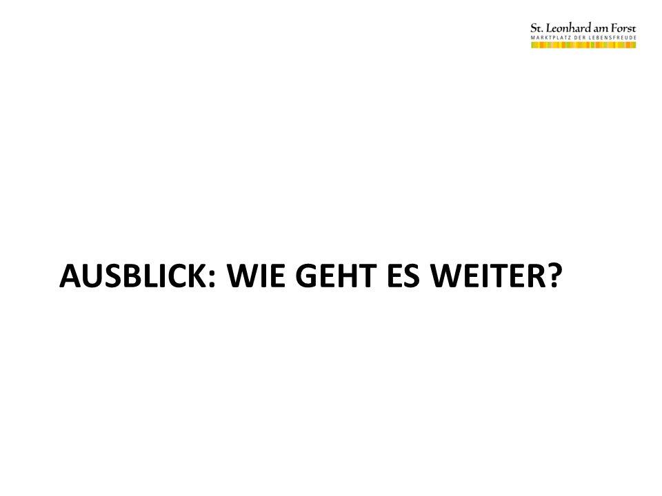 AUSBLICK: WIE GEHT ES WEITER?