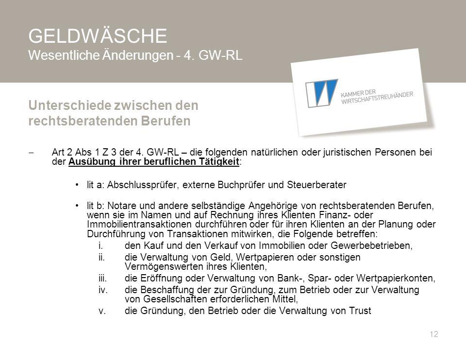 GELDWÄSCHE Wesentliche Änderungen - 4. GW-RL  Art 2 Abs 1 Z 3 der 4.