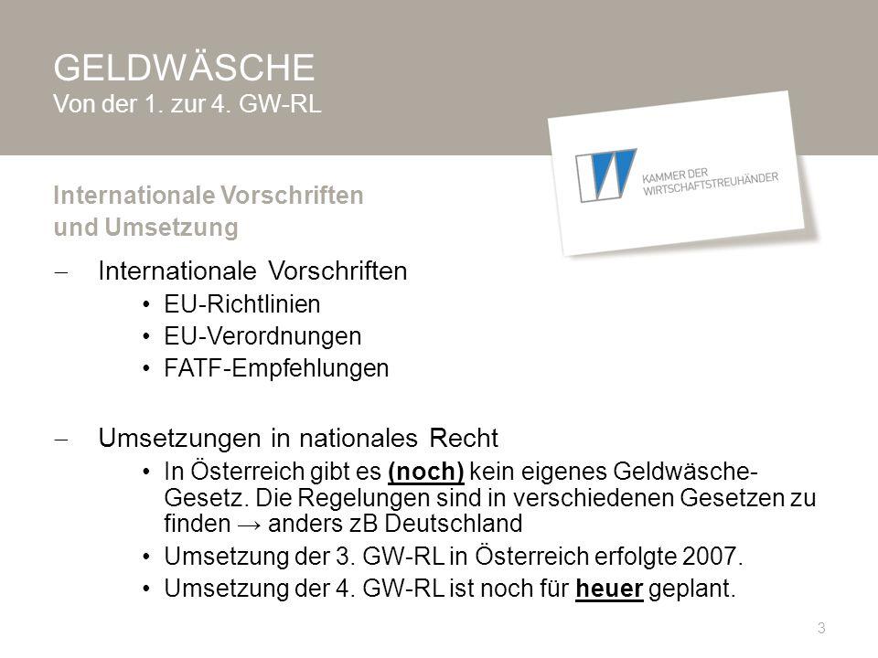 GELDWÄSCHE Von der 1.zur 4. GW-RL  1.
