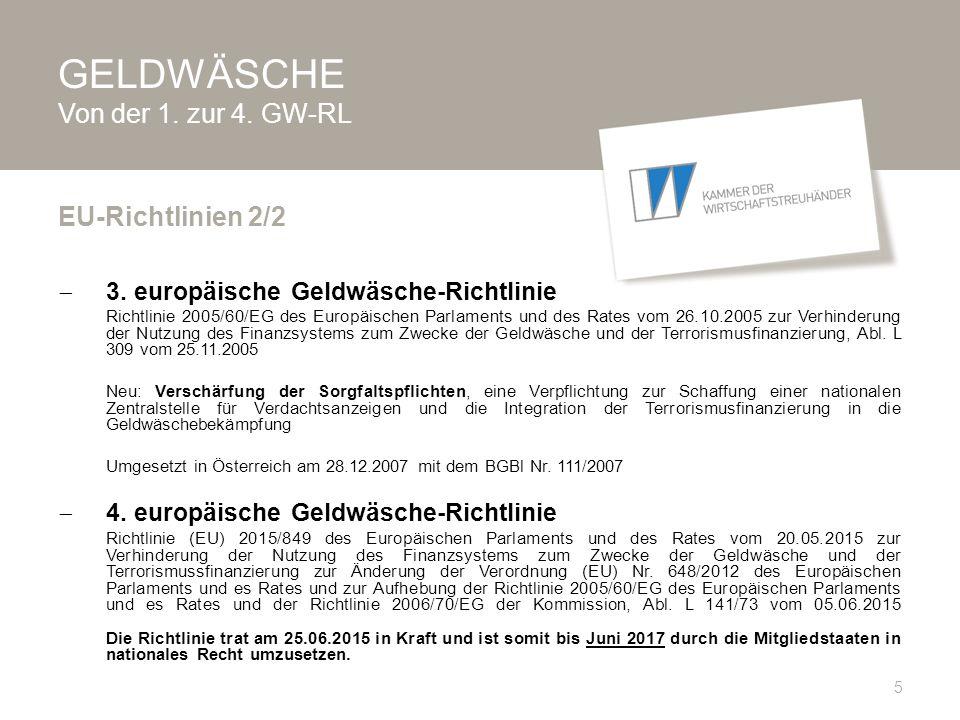 GELDWÄSCHE Von der 1.zur 4. GW-RL  Verordnung (EG) Nr.