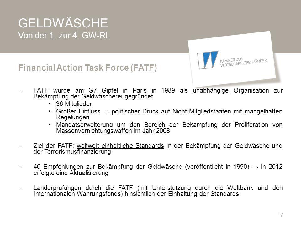 GELDWÄSCHE Auftrag an Geldwäschebeauftragten  Entwicklung von Maßnahmen zur Umsetzung der Anforderungen aus WTBG, WT-ARL, VO und StGB  gem.
