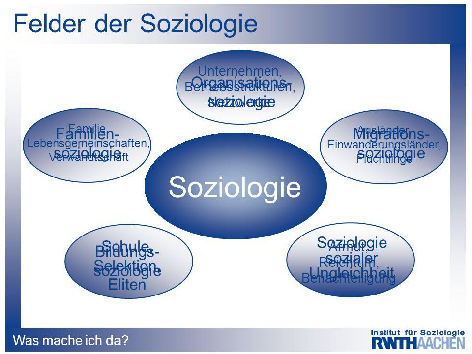 Was mache ich da ? Felder der Soziologie Soziologie Familie, Lebensgemeinschaften, Verwandtschaft Unternehmen, Betriebsstrukturen, Netzwerke Ausländer