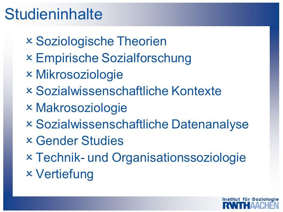 Studieninhalte  Soziologische Theorien  Empirische Sozialforschung  Mikrosoziologie  Sozialwissenschaftliche Kontexte  Makrosoziologie  Sozialwissenschaftliche Datenanalyse  Gender Studies  Technik- und Organisationssoziologie  Vertiefung