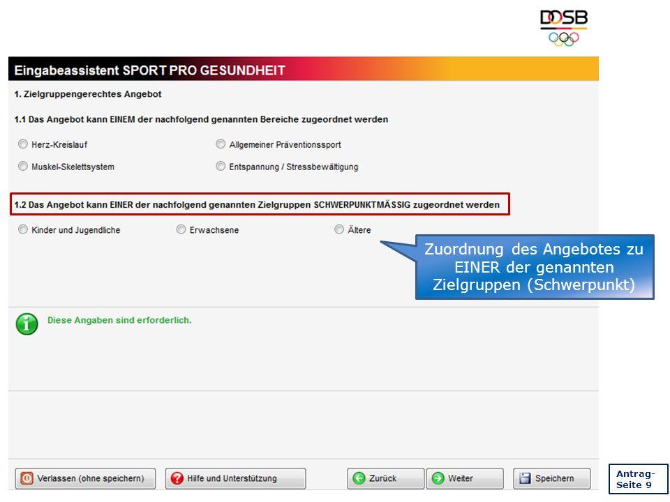 Zuordnung des Angebotes zu EINER der genannten Zielgruppen (Schwerpunkt) Antrag- Seite 9