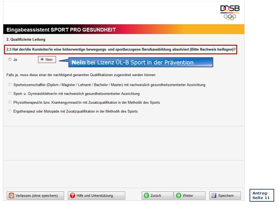 Nein bei Lizenz ÜL-B Sport in der Prävention Antrag- Seite 11