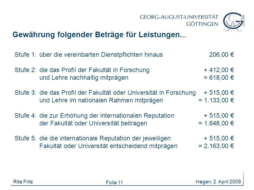 Folie 11 Hagen, 2. April 2009Rita Fritz Stufe 1: über die vereinbarten Dienstpflichten hinaus206,00 € Stufe 2: die das Profil der Fakultät in Forschun