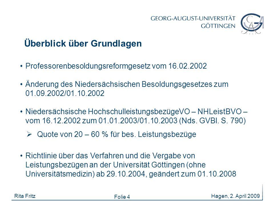 Folie 4 Hagen, 2. April 2009Rita Fritz Professorenbesoldungsreformgesetz vom 16.02.2002 Änderung des Niedersächsischen Besoldungsgesetzes zum 01.09.20