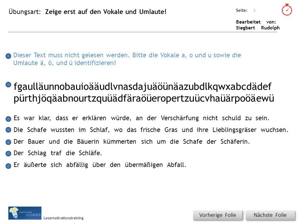 Übungsart: Seite: Bearbeitet von: Siegbert Rudolph Lesemotivationstraining Zeige erst auf den Vokale und Umlaute.