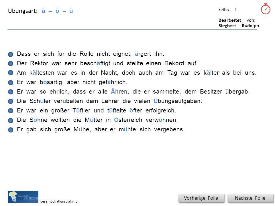 Übungsart: Seite: Bearbeitet von: Siegbert Rudolph Lesemotivationstraining 5 ä – ö – ü Titel: Quelle: Dass er sich für die Rolle nicht eignet, ärgert ihn.