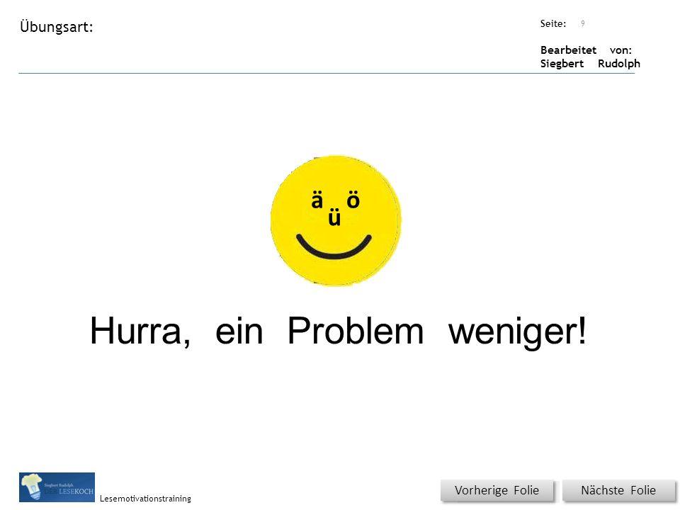 Übungsart: Seite: Bearbeitet von: Siegbert Rudolph Lesemotivationstraining 9 Titel: Quelle: Hurra, ein Problem weniger.