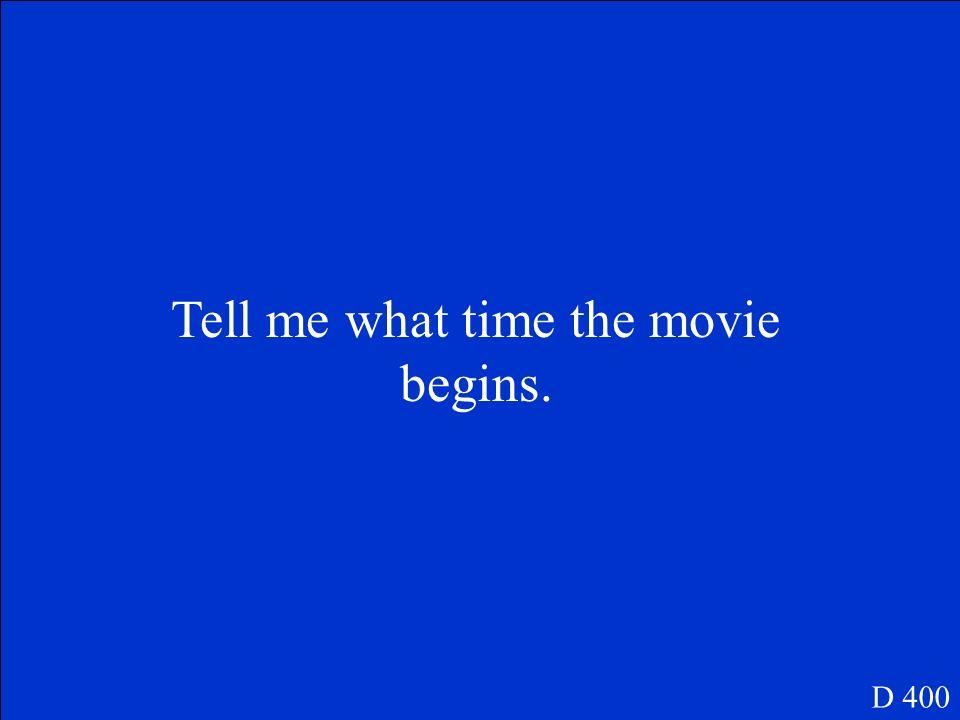 Ich schlage einen Liebesfilm vor. D 300