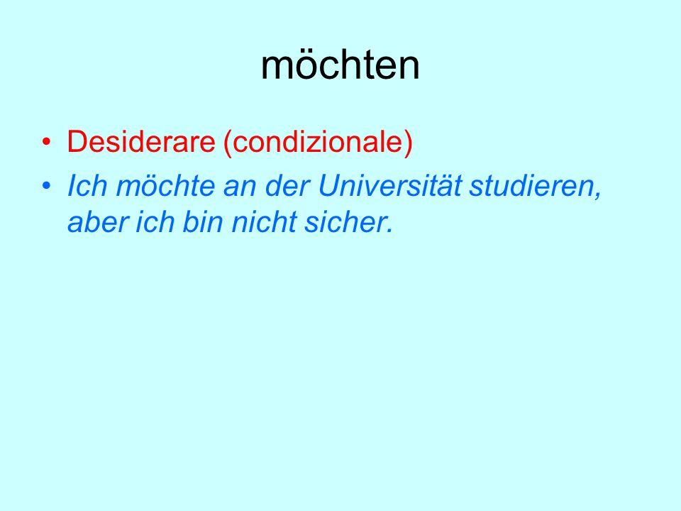 möchten Desiderare (condizionale) Ich möchte an der Universität studieren, aber ich bin nicht sicher.
