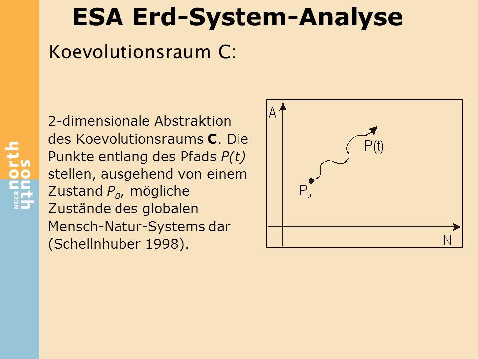 ESA Erd-System-Analyse 2-dimensionale Abstraktion des Koevolutionsraums C. Die Punkte entlang des Pfads P(t) stellen, ausgehend von einem Zustand P 0,