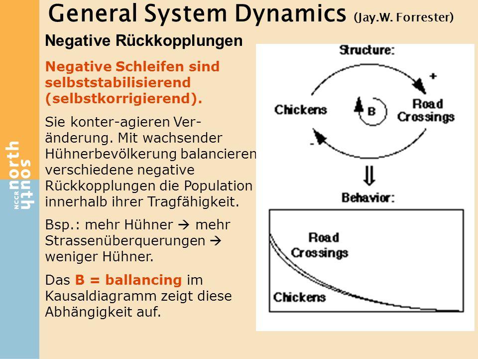 General System Dynamics (Jay.W. Forrester) Negative Rückkopplungen Negative Schleifen sind selbststabilisierend (selbstkorrigierend). Sie konter-agier