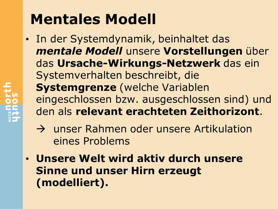 Mentales Modell In der Systemdynamik, beinhaltet das mentale Modell unsere Vorstellungen über das Ursache-Wirkungs-Netzwerk das ein Systemverhalten be