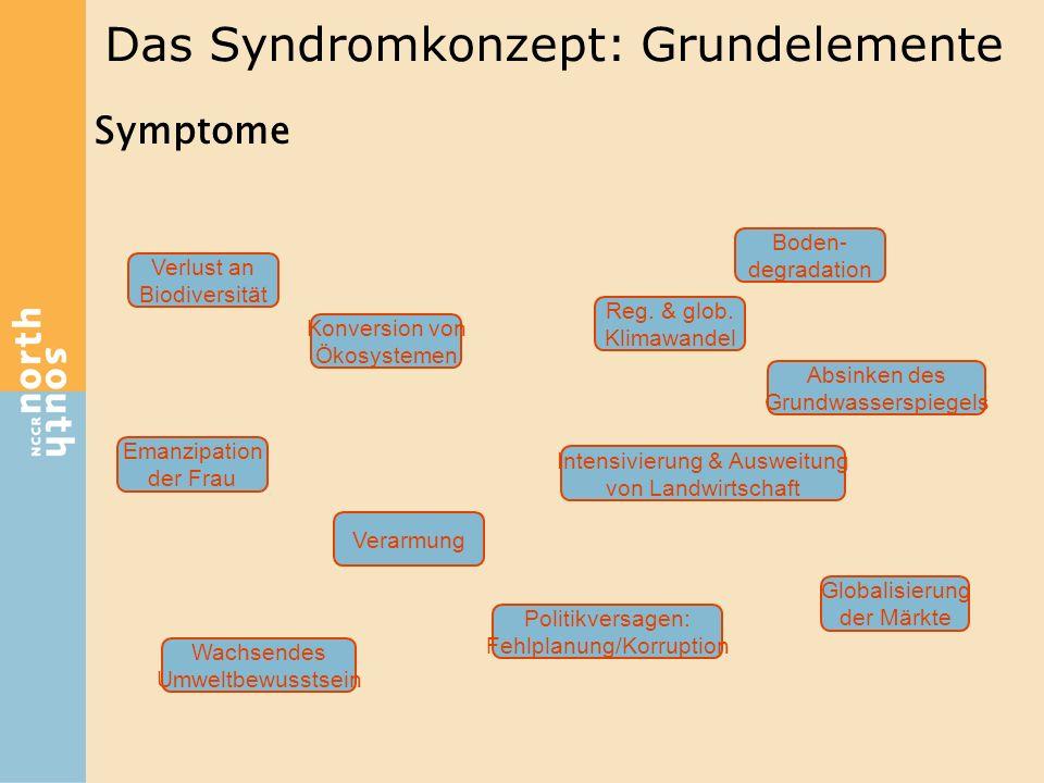 Das Syndromkonzept: Grundelemente Symptome Konversion von Ökosystemen Verlust an Biodiversität Verarmung Emanzipation der Frau Wachsendes Umweltbewuss