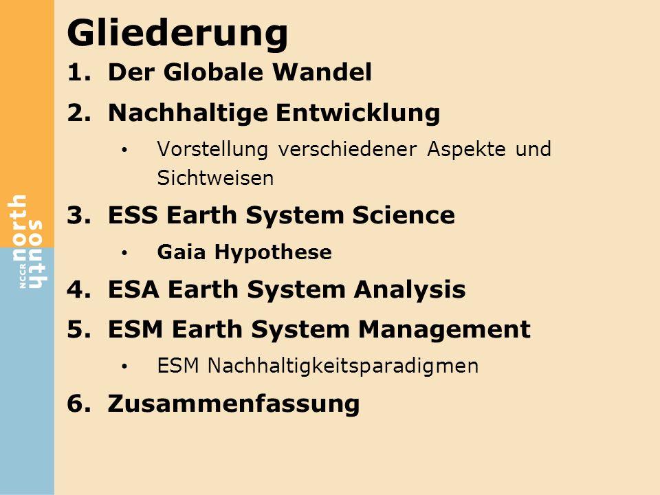 Gliederung 1.Der Globale Wandel 2.Nachhaltige Entwicklung Vorstellung verschiedener Aspekte und Sichtweisen 3.ESS Earth System Science Gaia Hypothese