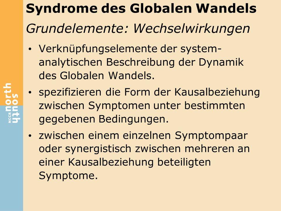 Verknüpfungselemente der system- analytischen Beschreibung der Dynamik des Globalen Wandels. spezifizieren die Form der Kausalbeziehung zwischen Sympt